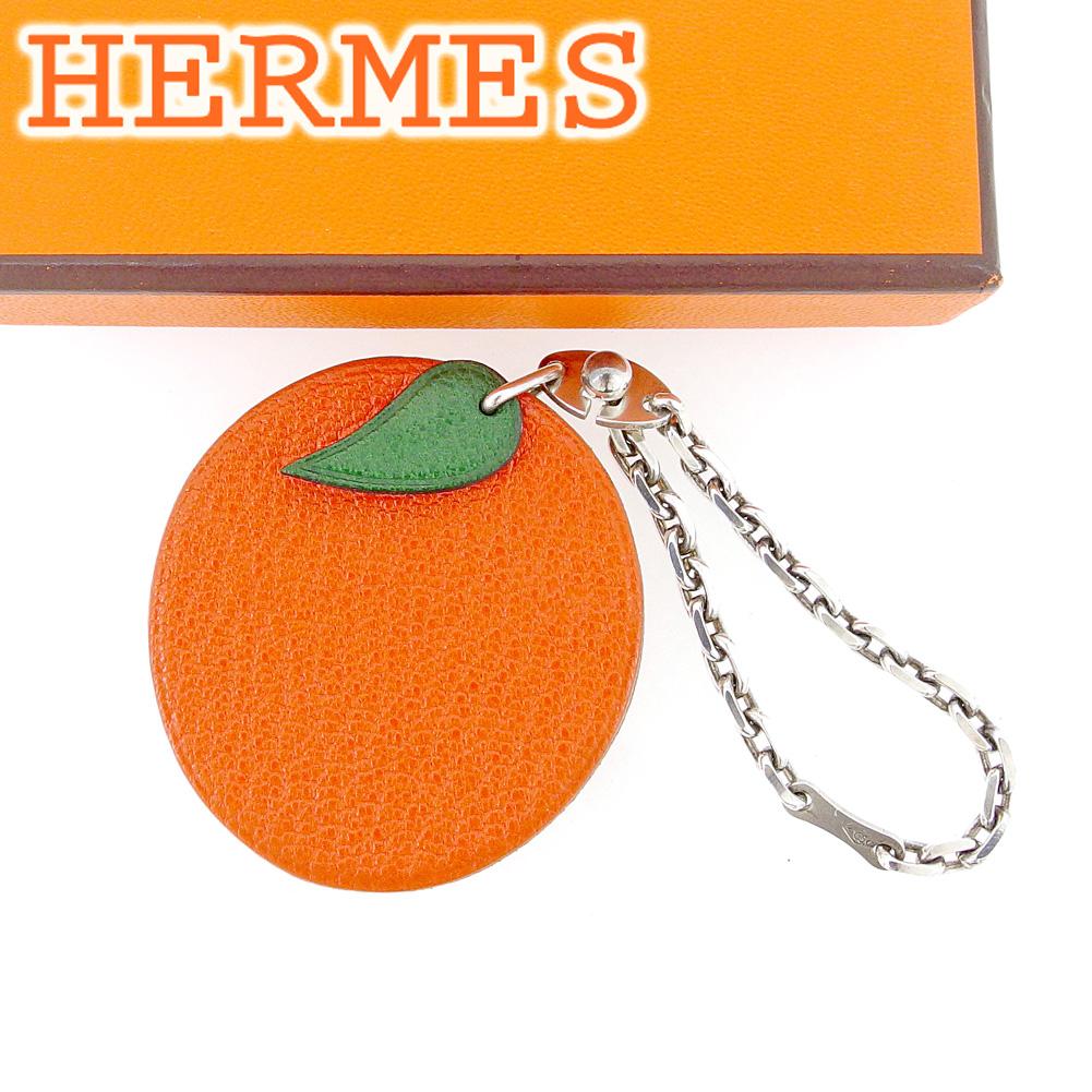 【中古】 【送料無料】 エルメス HERMES キーホルダー キーリング レディース メンズ 可 オレンジモチーフ オレンジ レザー×シルバー素材 美品 セール T6458 .