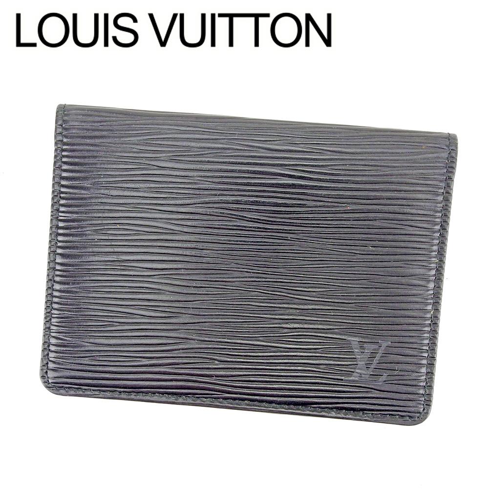 【中古】 【送料無料】 ルイ ヴィトン LOUIS VUITTON 定期入れ パスケース レディース メンズ 可 ポルト 2カルト ヴェルティカル エピ ブラック PVC×レザ- 人気 良品 T6466 .
