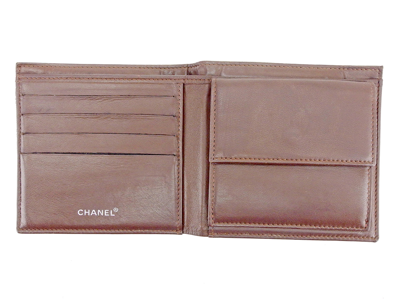 f73a1edc6f1170 Chanel CHANEL folio wallet wallet men's possible current style bell line  brown nylon jacquard X calf folio wallet T6558s.