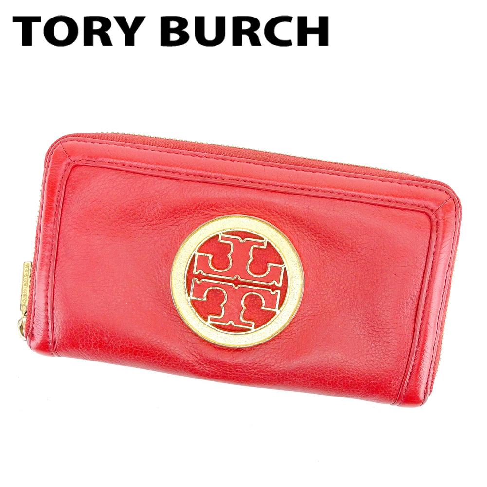 【中古】 【送料無料】 トリバーチ Tory Burch ラウンドファスナー財布 長財布 財布 メンズ可 レッド ゴールド レザー 人気 セール T6564 .
