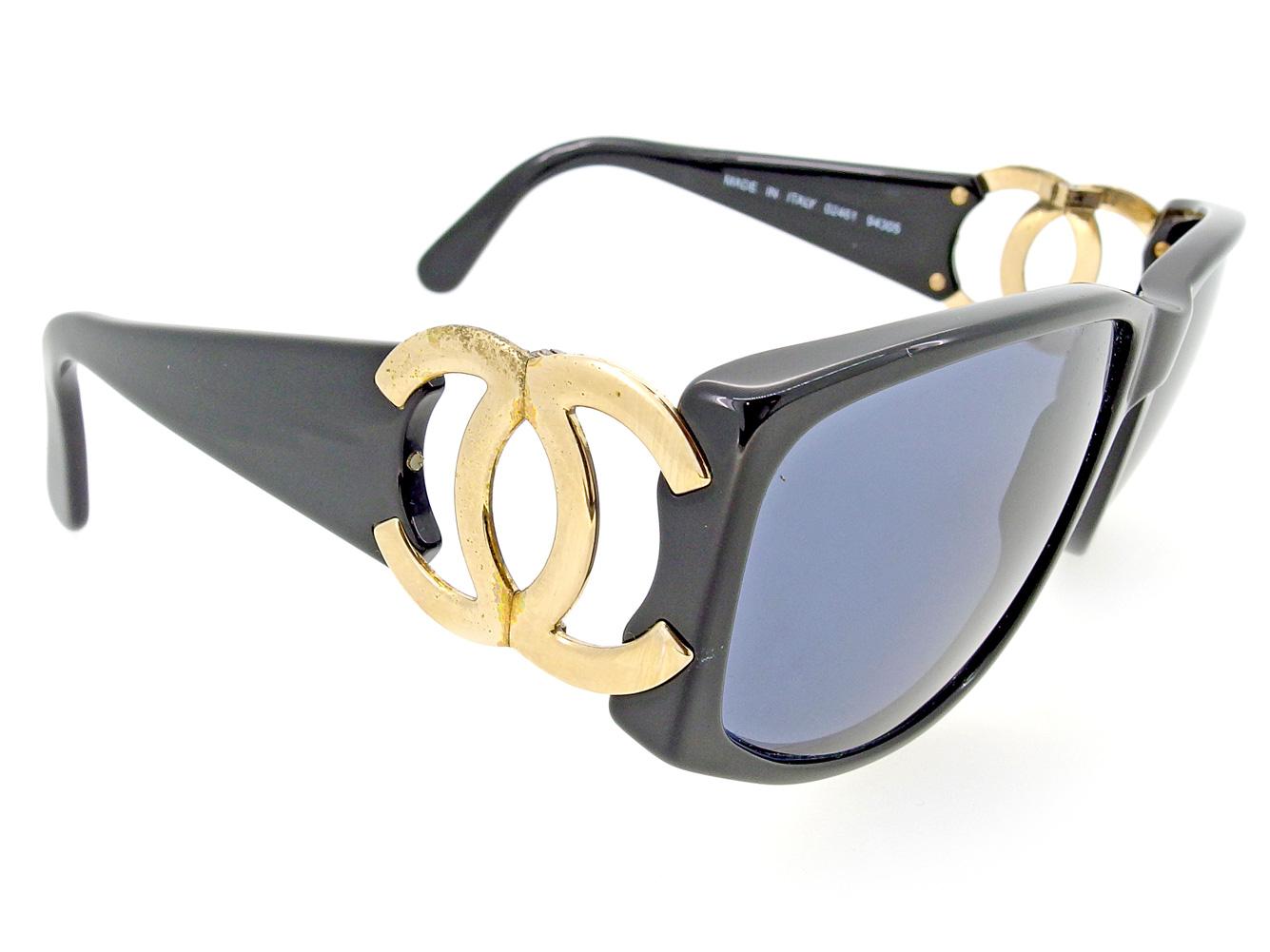 5c92e4c616ee 【中古】 T6566s プラスティックサングラス ゴールド ブラック ココマーク メンズ可 サングラス CHANEL シャネル-サングラス
