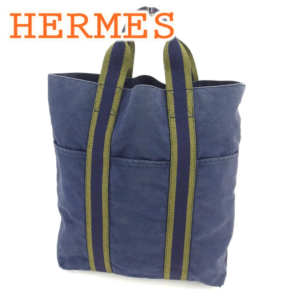 【中古】 【送料無料】 エルメス HERMES トートバッグ ハンドバッグ レディース メンズ 可 カバス フールトゥ ネイビー 綿100% 人気 セール T6595 .