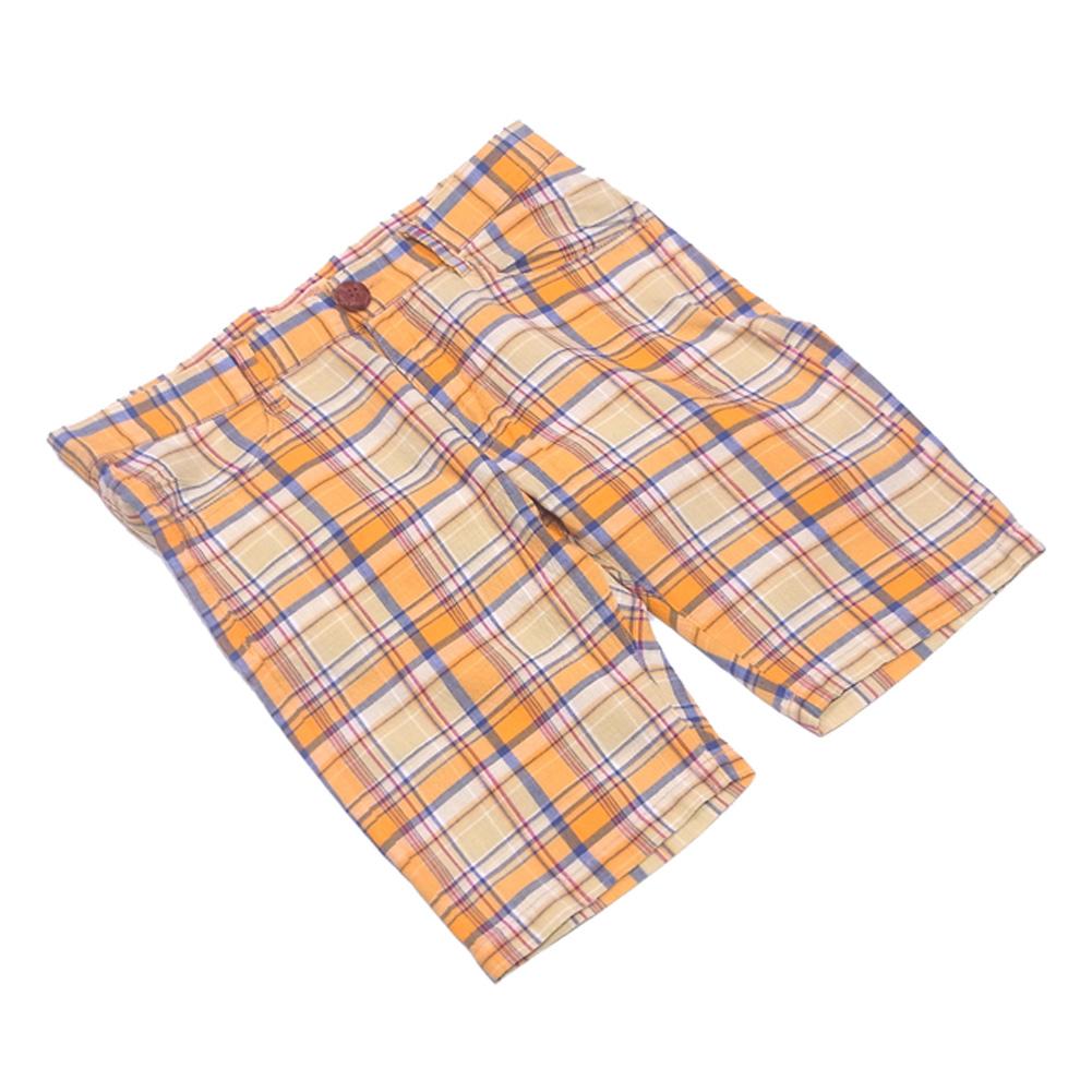 【中古】 【送料無料】 TMT パンツ ハーフ メンズ ♯Sサイズ チェック オレンジ イエロー ネイビー系 コットンCOTTON/100% 人気 セール H557 .