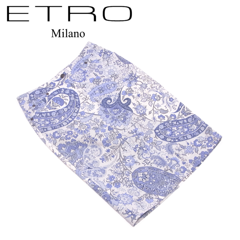 【中古】 エトロ スカート タイト スリット入リ ♯40サイズ フラワーペイズリー ホワイト 白 ブルー コットン98%ポリウレタン2% ETRO C4048@