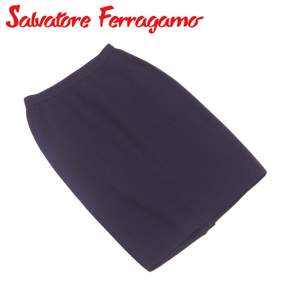 【中古】 サルヴァトーレ フェラガモ Salvatore Ferragamo スカート タイト レディース ♯Sサイズ ブラック ゴールド ウールWOOL 100% T16182