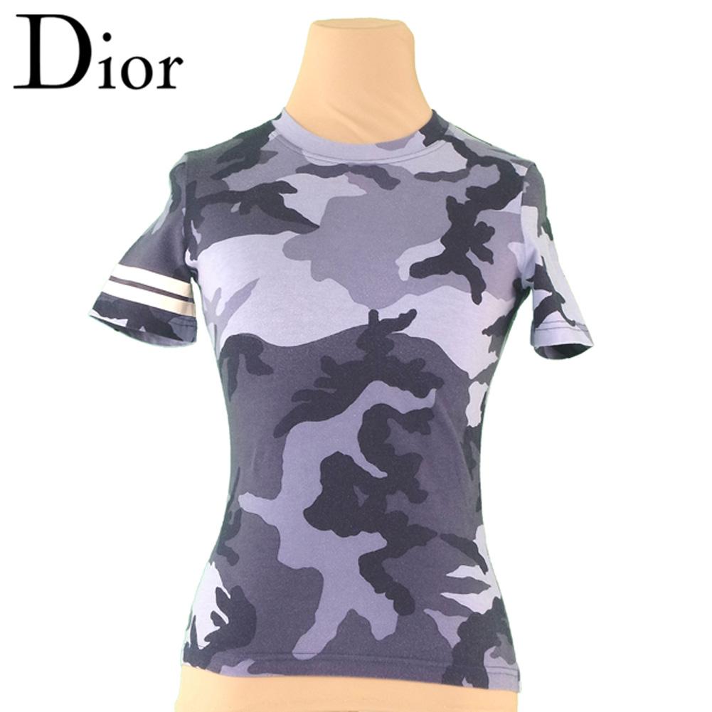 【中古】 ディオール Dior Tシャツ 袖ライン入り レディース ♯USA4サイズ グレー 灰色 ブラック系 コットンCO 100% T4133