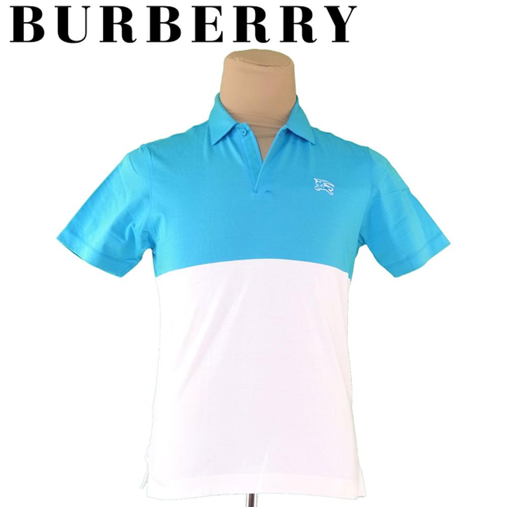 【中古】 【送料無料】 バーバリー ゴルフ BURBERRY GOLF ポロシャツ 半袖 メンズ ♯2サイズ ホースマーク ブルー ホワイト 白 コットン綿54%ポリエステル46% 人気 セール T4337 .