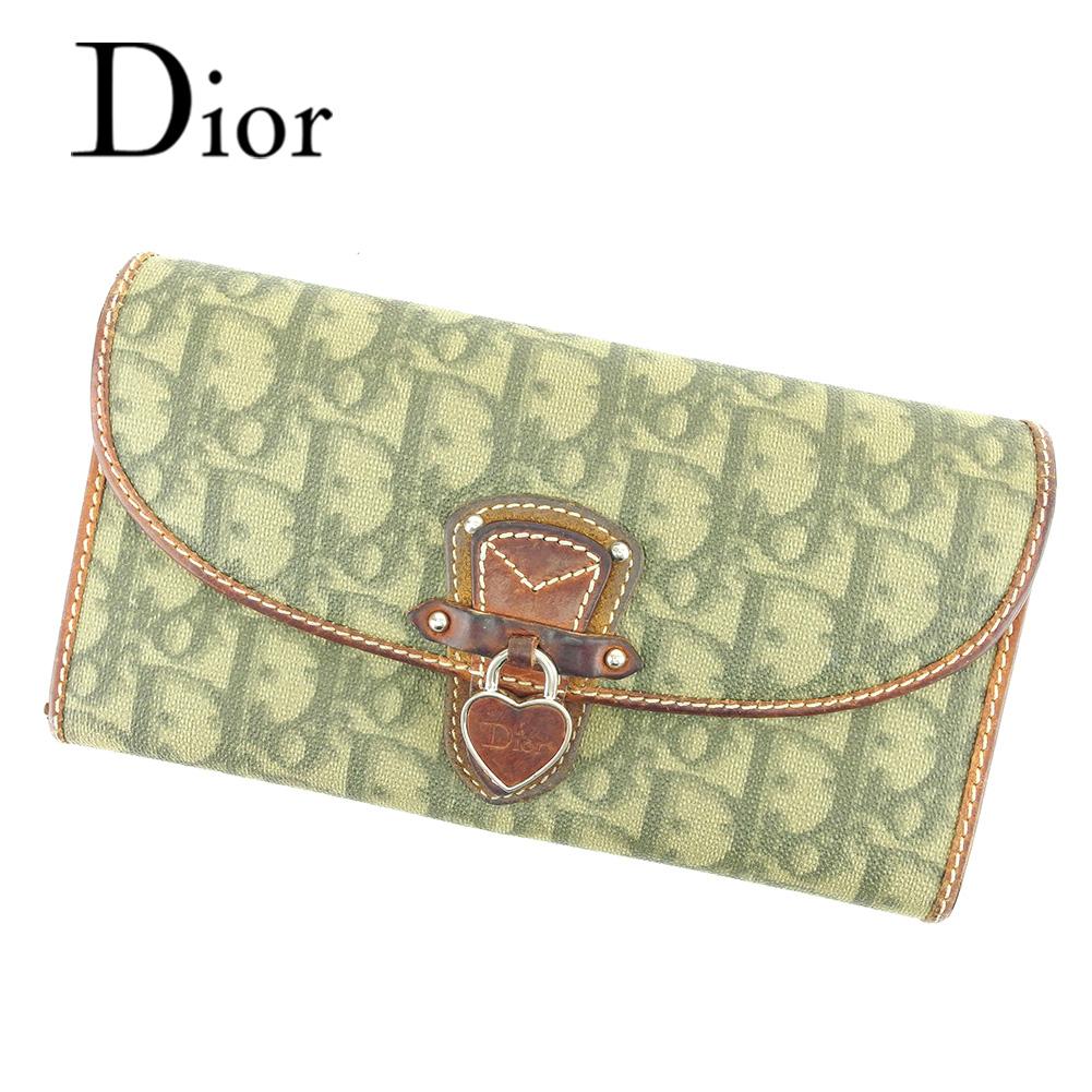 【中古】 【送料無料】 ディオール Dior 長財布 二つ折り 財布 レディース トロッター グリーン ブラウン PVC×レザー 人気 セール T6523 .