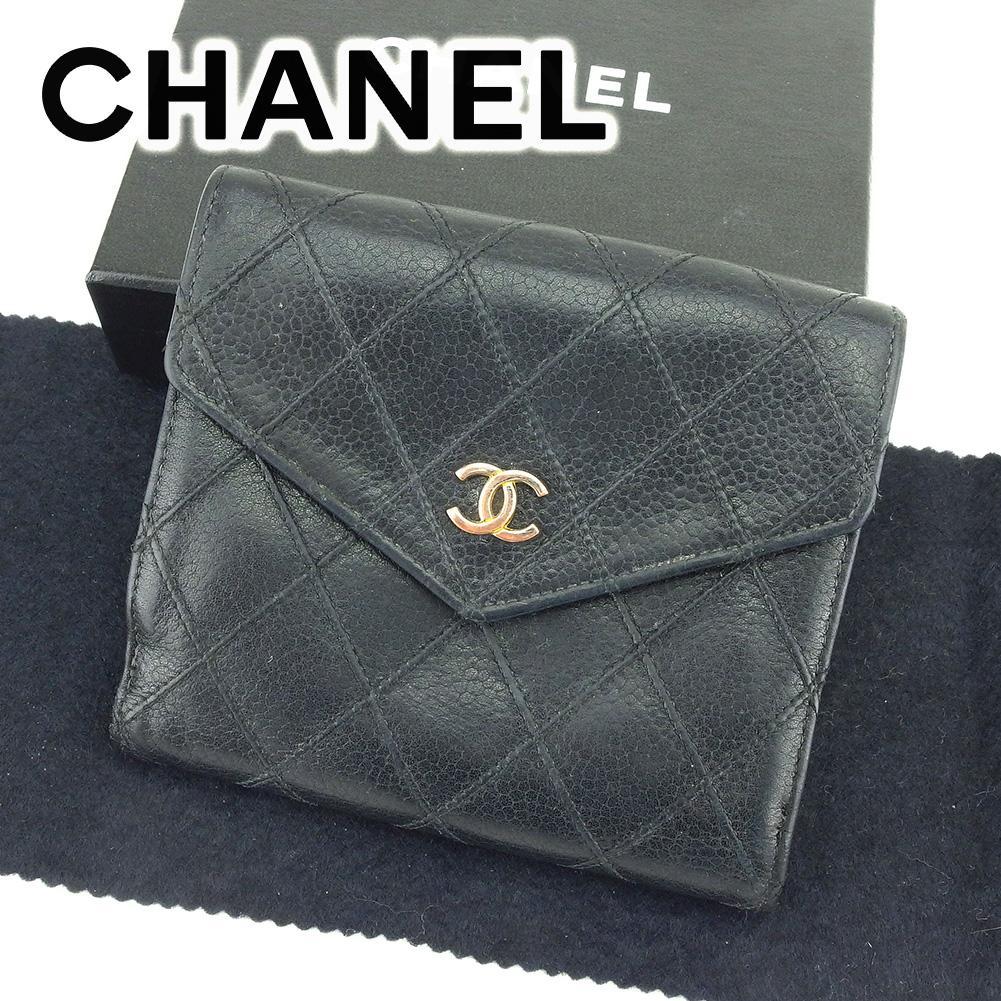 【中古】 【送料無料】 シャネル CHANEL Wホック 財布 二つ折り 財布 メンズ可 ココマーク ブラック レザー 人気 セール T6544 .