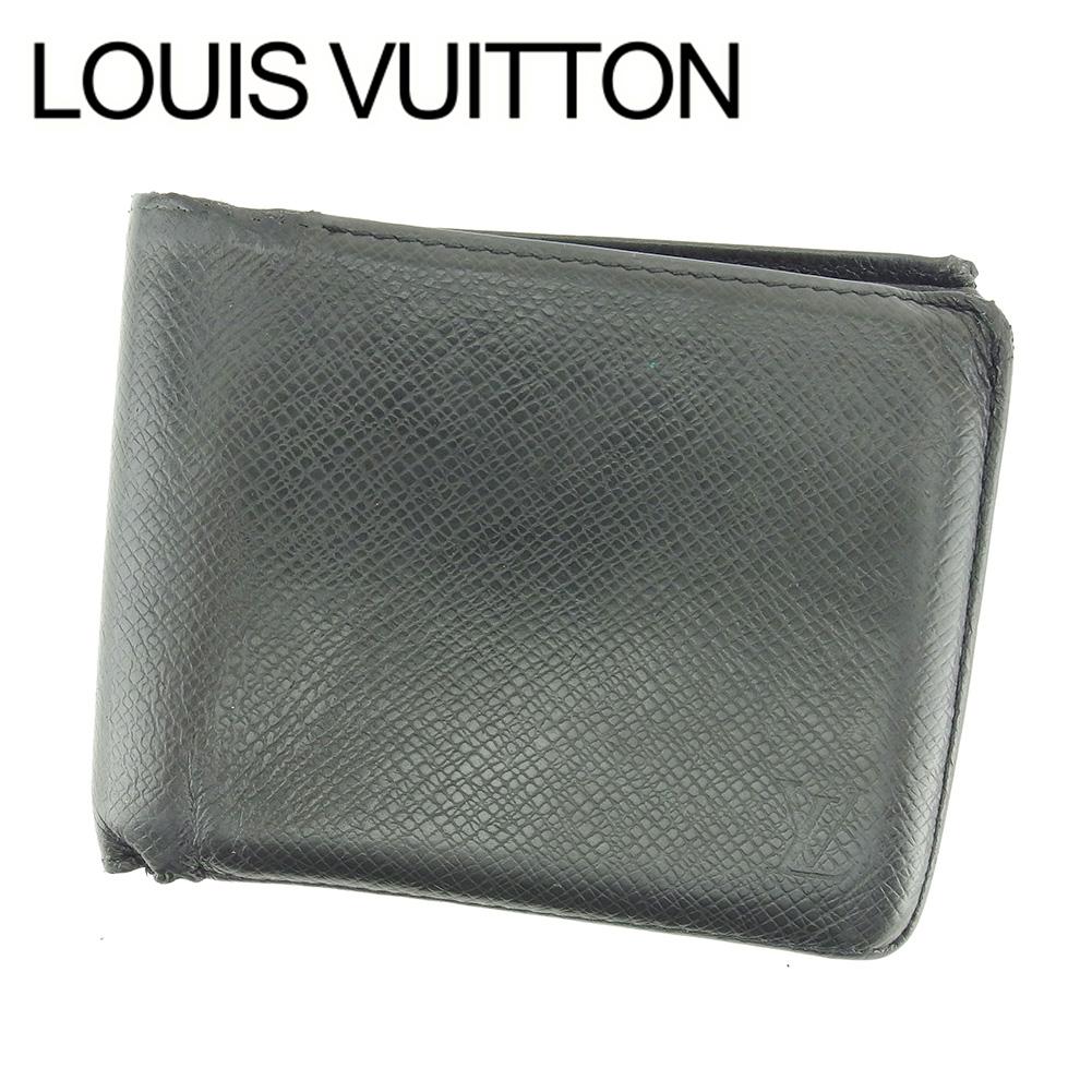 【中古】 【送料無料】 ルイ ヴィトン Louis Vuitton 二つ折り 札入れ 財布 メンズ可 ポルト ビエ・3ヴォレ タイガ ブラック レザー 人気 セール T6549 .