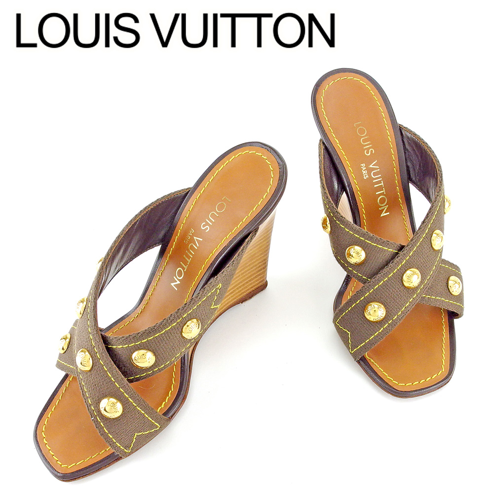 【中古】 【送料無料】 ルイ ヴィトン Louis Vuitton サンダル 靴 ウエッジソール レディース #35 ブラウン ゴールド キャンバス×レザー 人気 良品 T6614