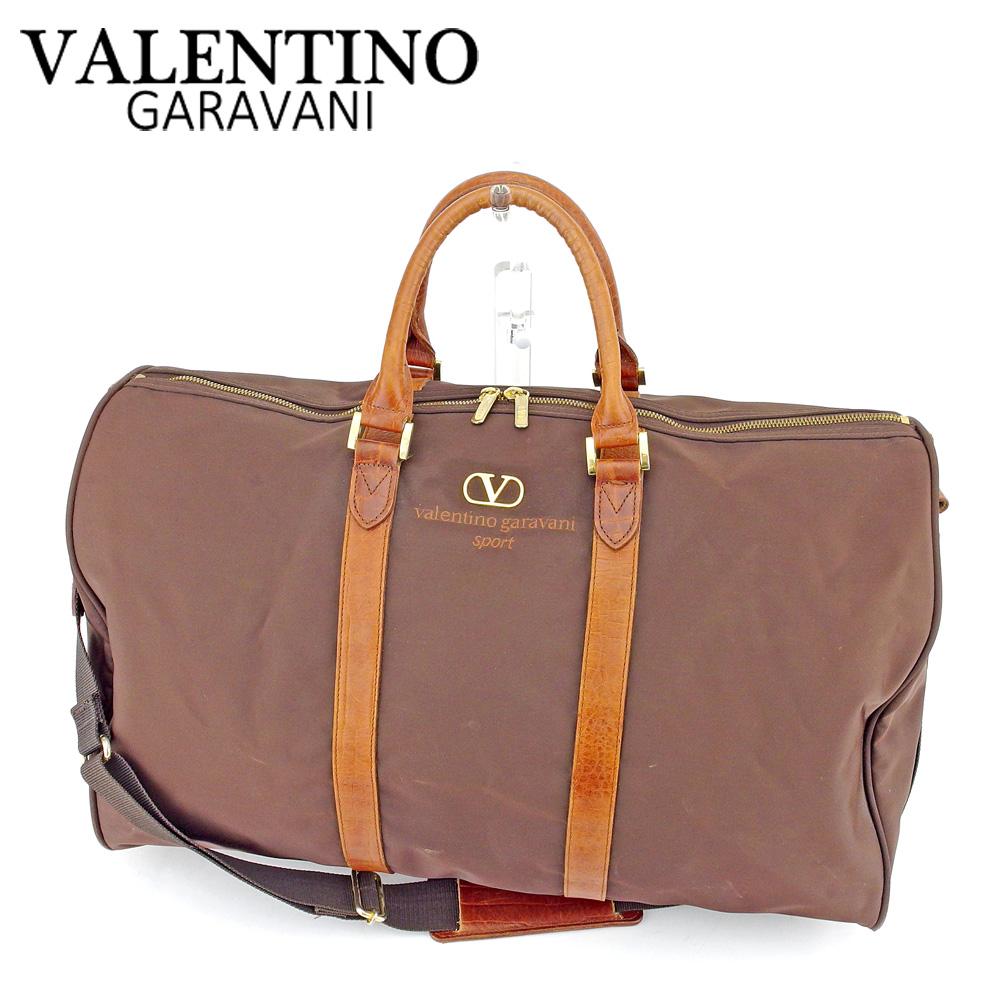 【中古】 ヴァレンティノ ガラバーニ VALENTINO GARAVANI ボストンバッグ ブラウン ナイロン×レザーボストンバッグ T6633s .