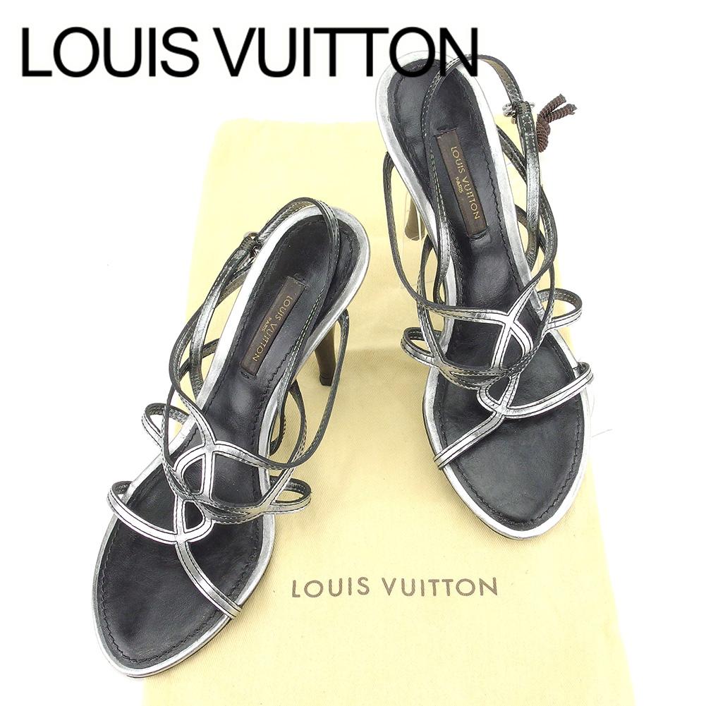 【中古】 【送料無料】 ルイ ヴィトン Louis Vuitton サンダル 靴 シューズ レディース メンズ 可 #34 シルバー ブラック レザー 人気 セール T6665