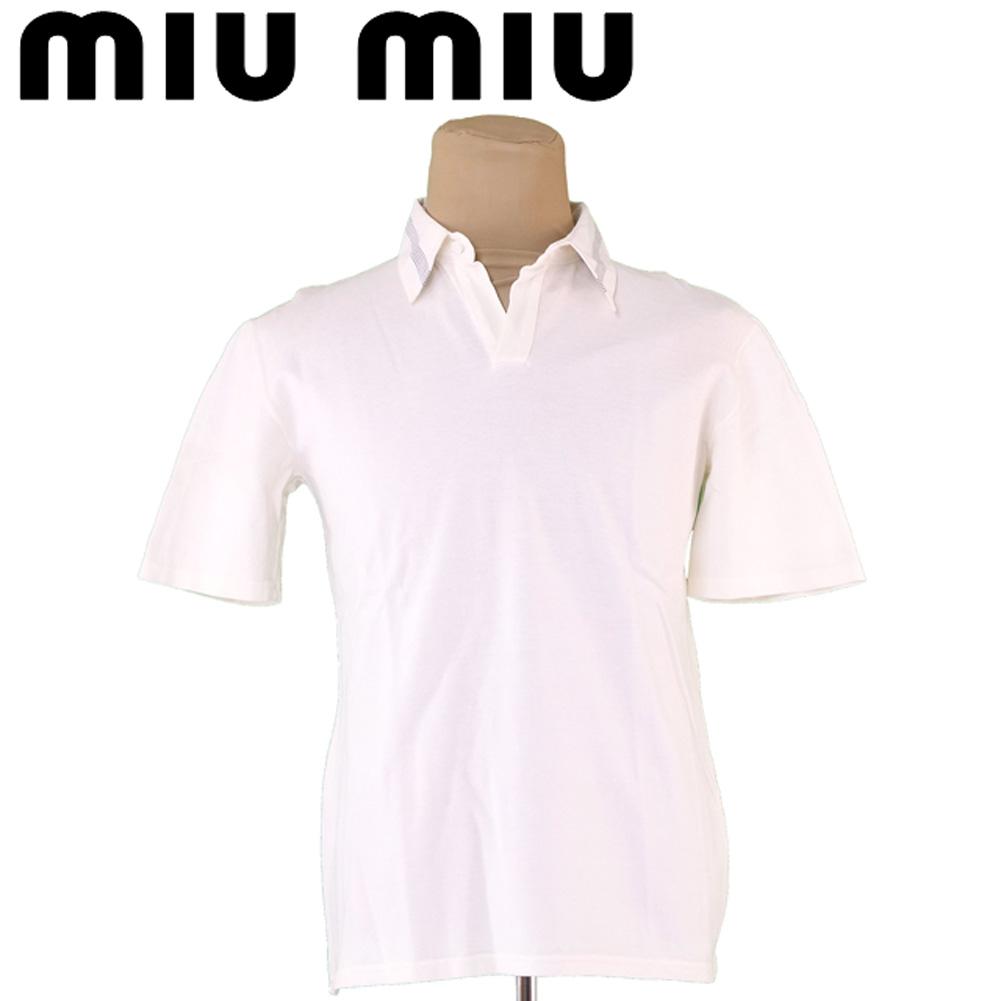 【中古】 【送料無料】 ミュウミュウ ポロシャツ 半袖 メンズ 衿ボーダー ♯Mサイズ ホワイト 白 グレー 灰色 コットン綿100% Miu Miu T5434 .