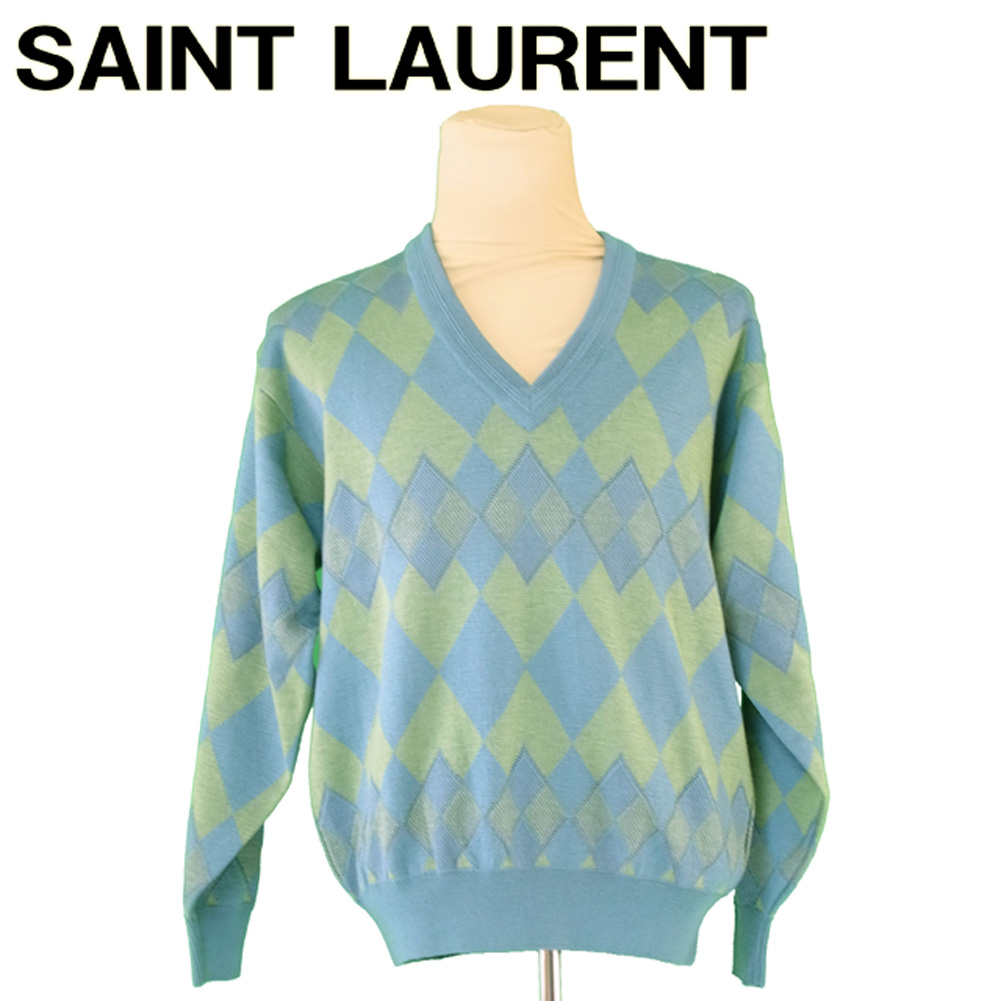 【中古】 サンローラン SAINT LAURENT ニット Vネック セーター メンズ アーガイル グリーン系 ウール毛100%ニット T5456s .