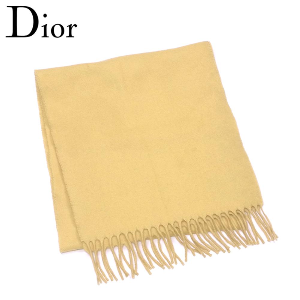 【中古】 ディオール ムッシュ Dior MONSIEUR マフラー メンズ フリンジ付き イエロー ウール100% 人気 セール T5611