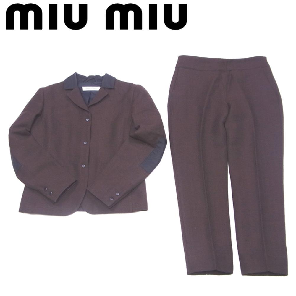 【中古】 ミュウミュウ miu miu セットアップ ジャケット パンツ レディース ♯42サイズ スーツ ツィード ブラウン ブラック ウールWO/81%ナイロンNY/19%(裏地)ナイロンNY/100% 人気 セール T5664