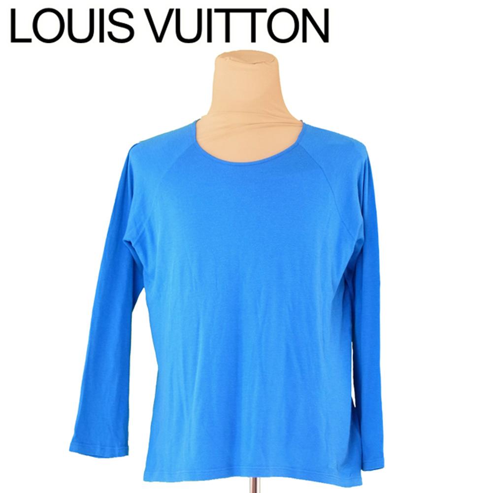 【中古】 ルイ ヴィトン Louis Vuitton ロンT 長袖 カットソー メンズ ♯Lサイズ ラウンドネック ブルー コットン65%シルク35% 人気 セール T5911 .