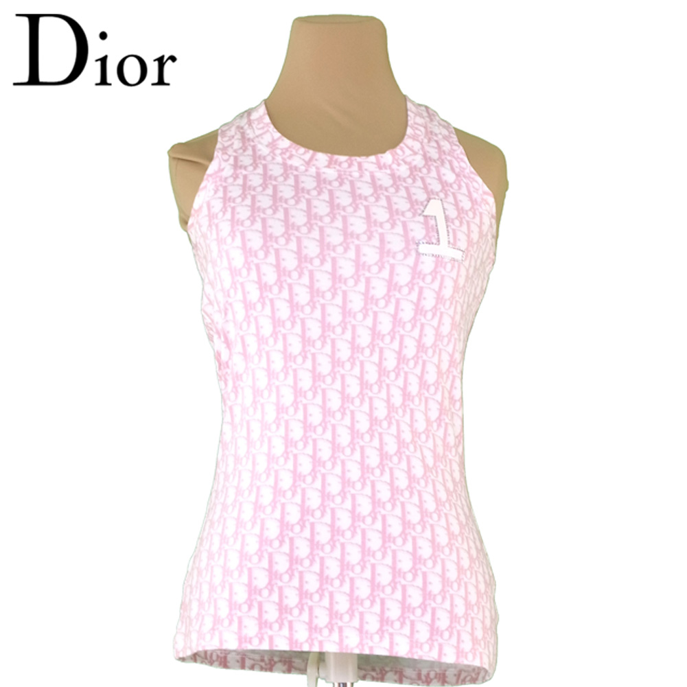 【中古】 ディオール Dior タンクトップ ラインストーン付き インナー レディース ♯USA4サイズ トロッター ホワイト 白 ピンク コットン100% 美品 セール T6459 .