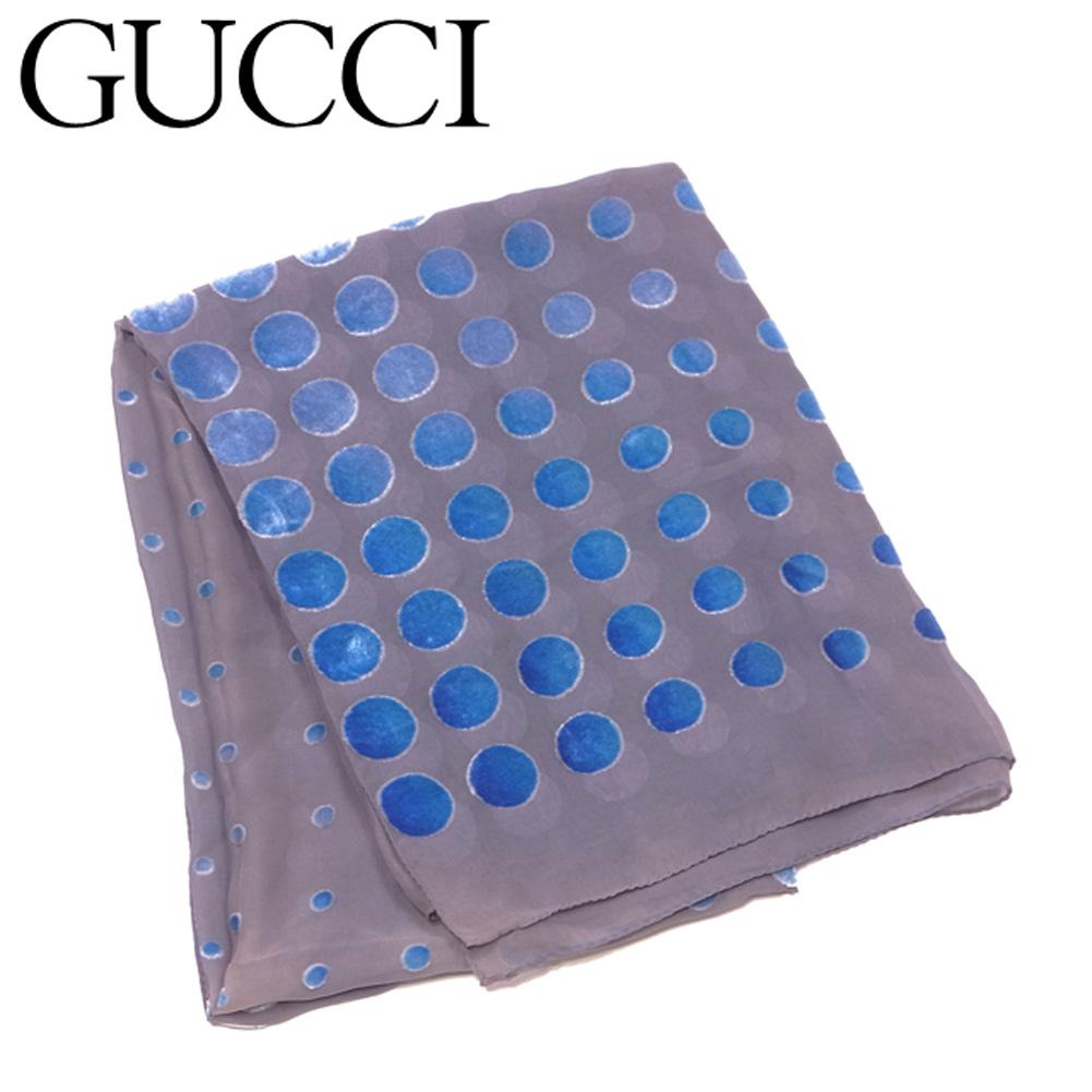 【中古】 グッチ GUCCI ストール 大判サイズ レディース スカーフ ベロアドット グレー 灰色 ブルー シルク50%レーヨン50% 人気 セール T6505 .
