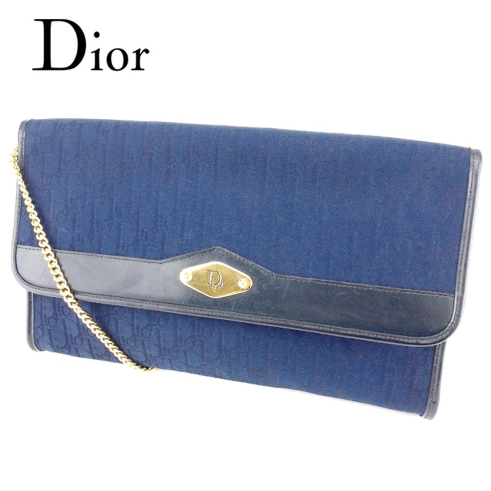 【中古】 ディオール Dior ショルダーバッグ チェーンショルダー クラッチ レディース トロッター ネイビー ゴールド キャンバス×レザー ヴィンテージ 人気 T6724