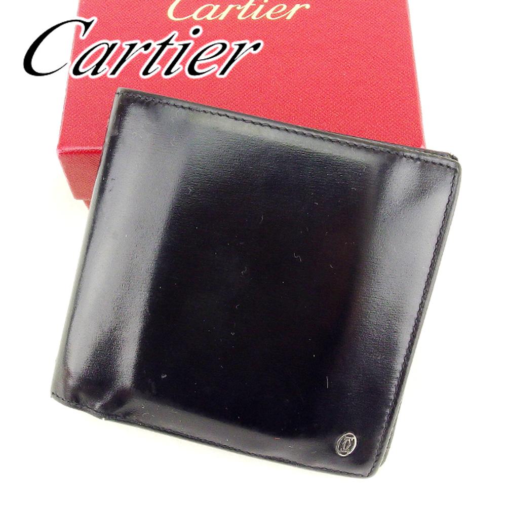 【中古】 カルティエ Cartier 二つ折り 財布 レディース メンズ 可 パシャ ブラック レザー 人気 セール T6733