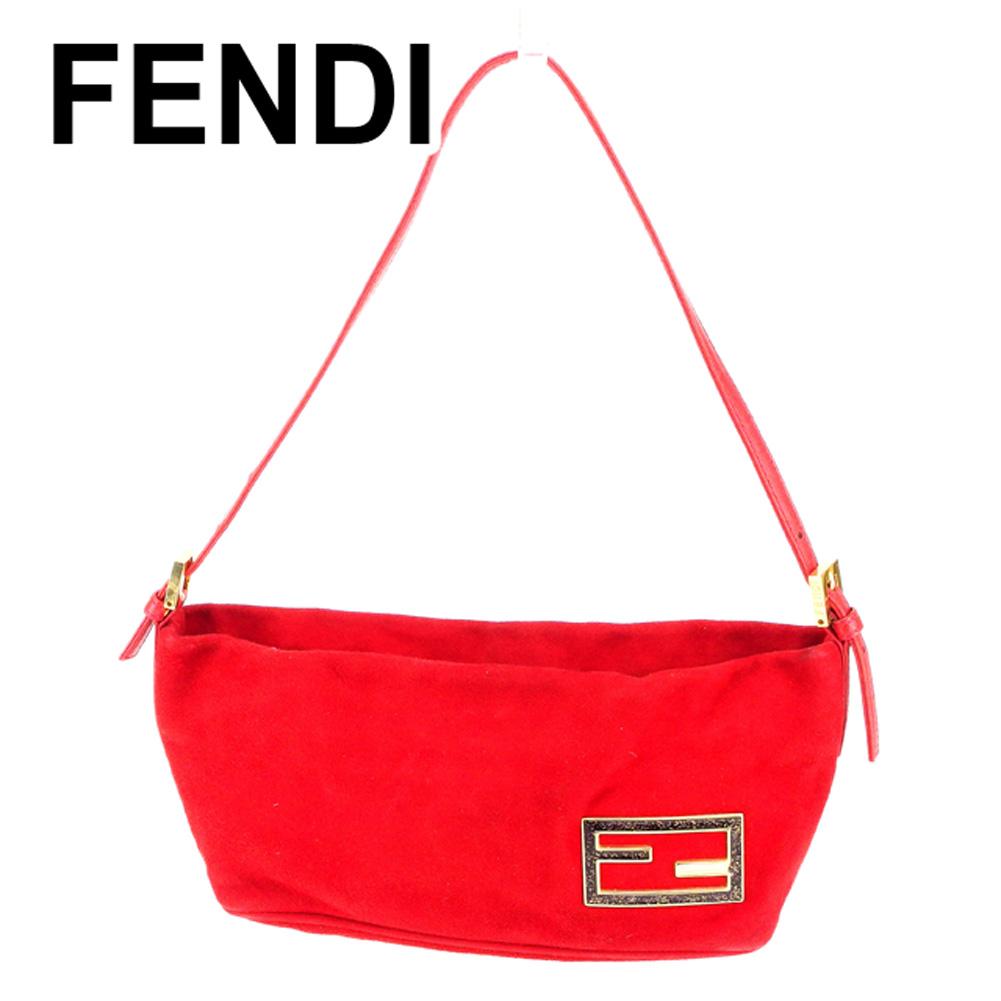【中古】 フェンディ FENDI ハンドバッグ ワンショルダー レディース FFプレート レッド スエード×レザー 人気 セール T6735 .