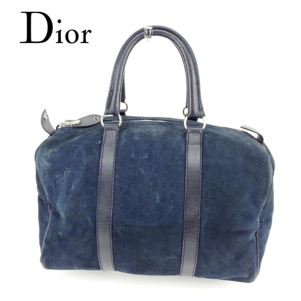 【中古】 ディオール Dior ボストンバッグ ミニボストンバッグ レディース メンズ 可 トロッター ブラック スエード×レザー 人気 セール T6738