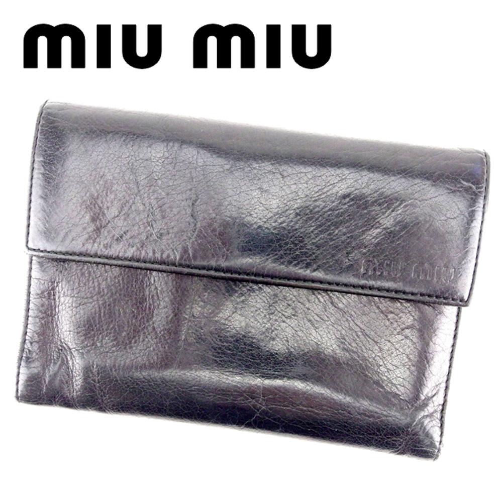 6e875881aa07 【中古】 ミュウミュウ miumiu 三つ折り 財布 財布 レディース ブラック キャンバス×レザー 人気