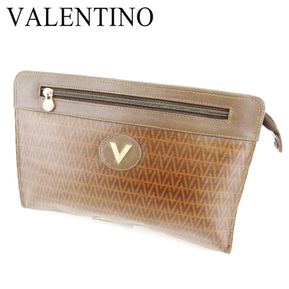 【中古】 マリオ ヴァレンティノ MARIO VALENTINO クラッチバッグ セカンドバッグ レディース メンズ 可 Vマーク ブラウン PVC×レザー 人気 セール T6765 .
