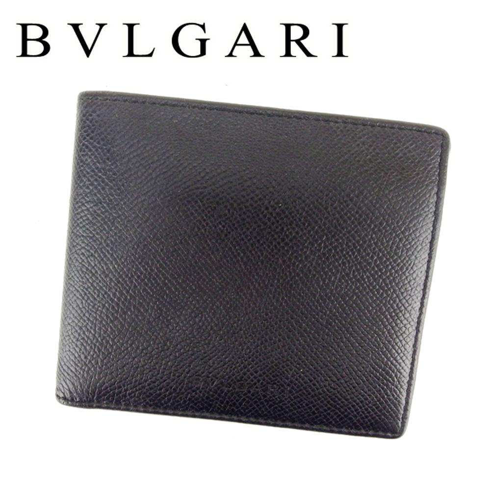 【中古】 ブルガリ BVLGARI 二つ折り 財布 メンズ クラシコ ブラック レザー 人気 セール T6770 .