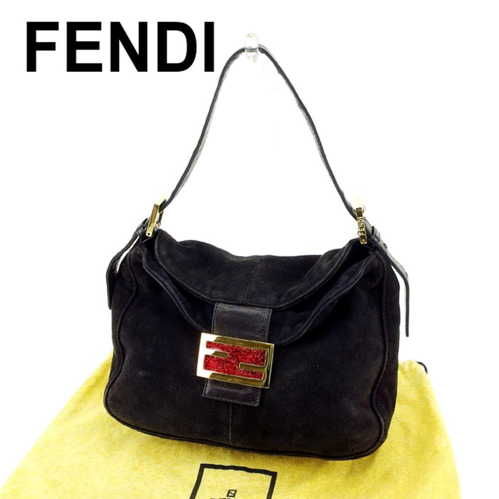 【中古】 フェンディ FENDI ハンドバッグ ショルダーバッグ レディース マンマバゲット ブラック ゴールド レッド スエード×レザーハンドバッグ T6811s .
