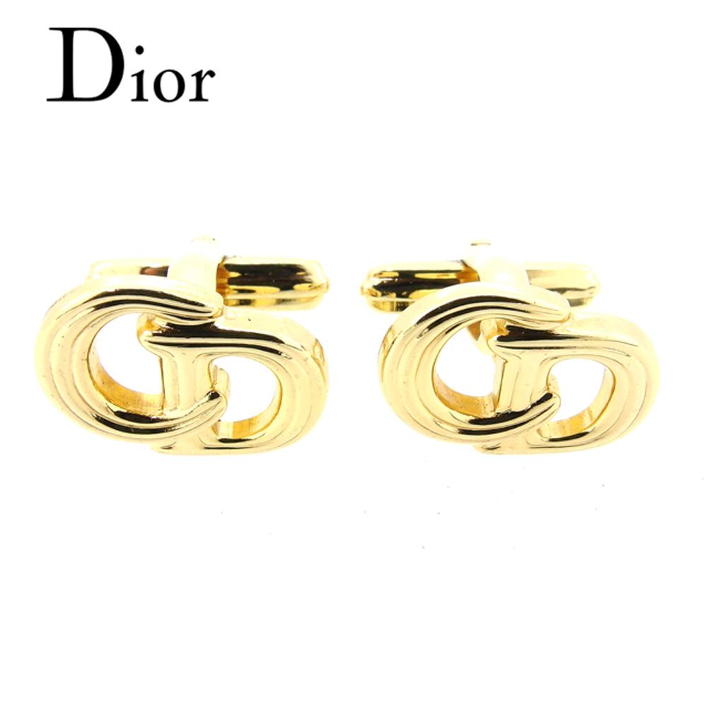 【中古】 ディオール Dior カフス スウィヴル式 レディース メンズ 可 CDロゴ ゴールド ゴールドメッキ 美品 セール T6817 .