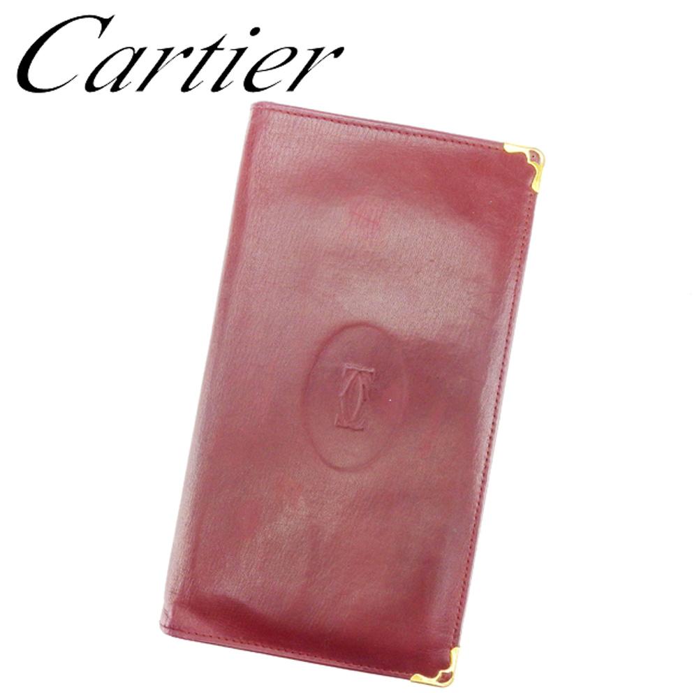 【中古】 カルティエ Cartier 長札入れ 札入れ レディース メンズ 可 マストライン ボルドー ゴールド レザー 人気 セール T6819