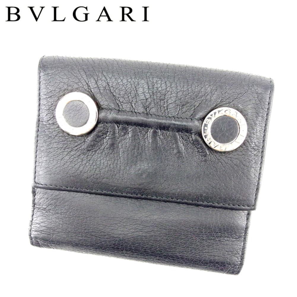 【中古】 ブルガリ BVLGARI Wホック 財布 二つ折り レディース メンズ 可 コローレ ブラック シルバー レザー 良品 セール T6825 .