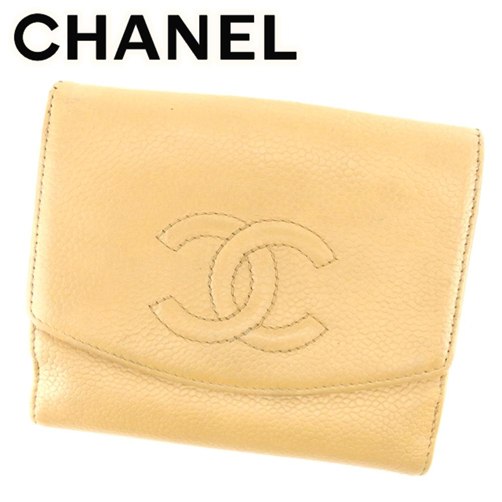 809eea86144d 【中古】 シャネル CHANEL Wホック 財布 二つ折り レディース メンズ 可 オールドシャネル ココ