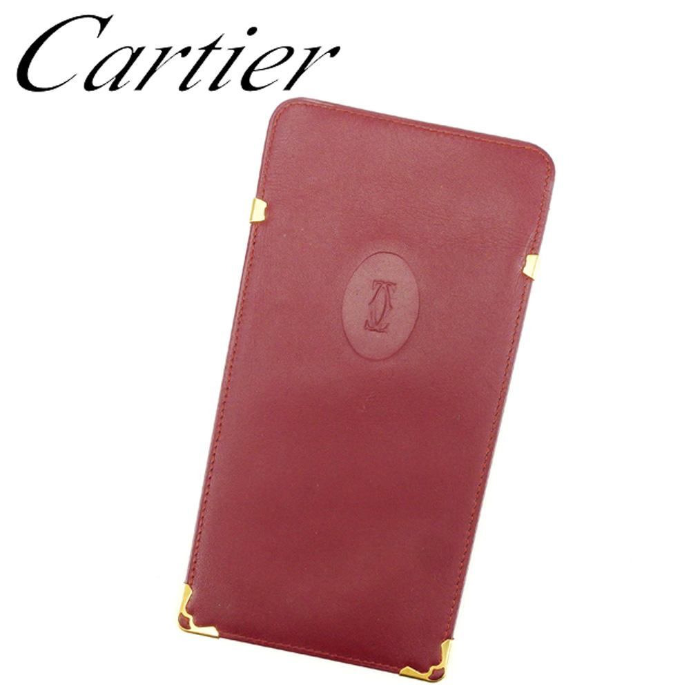 【中古】 カルティエ Cartier メガネケース ケース レディース メンズ 可 マストライン ボルドー ゴールド レザー 美品 セール T6827 .