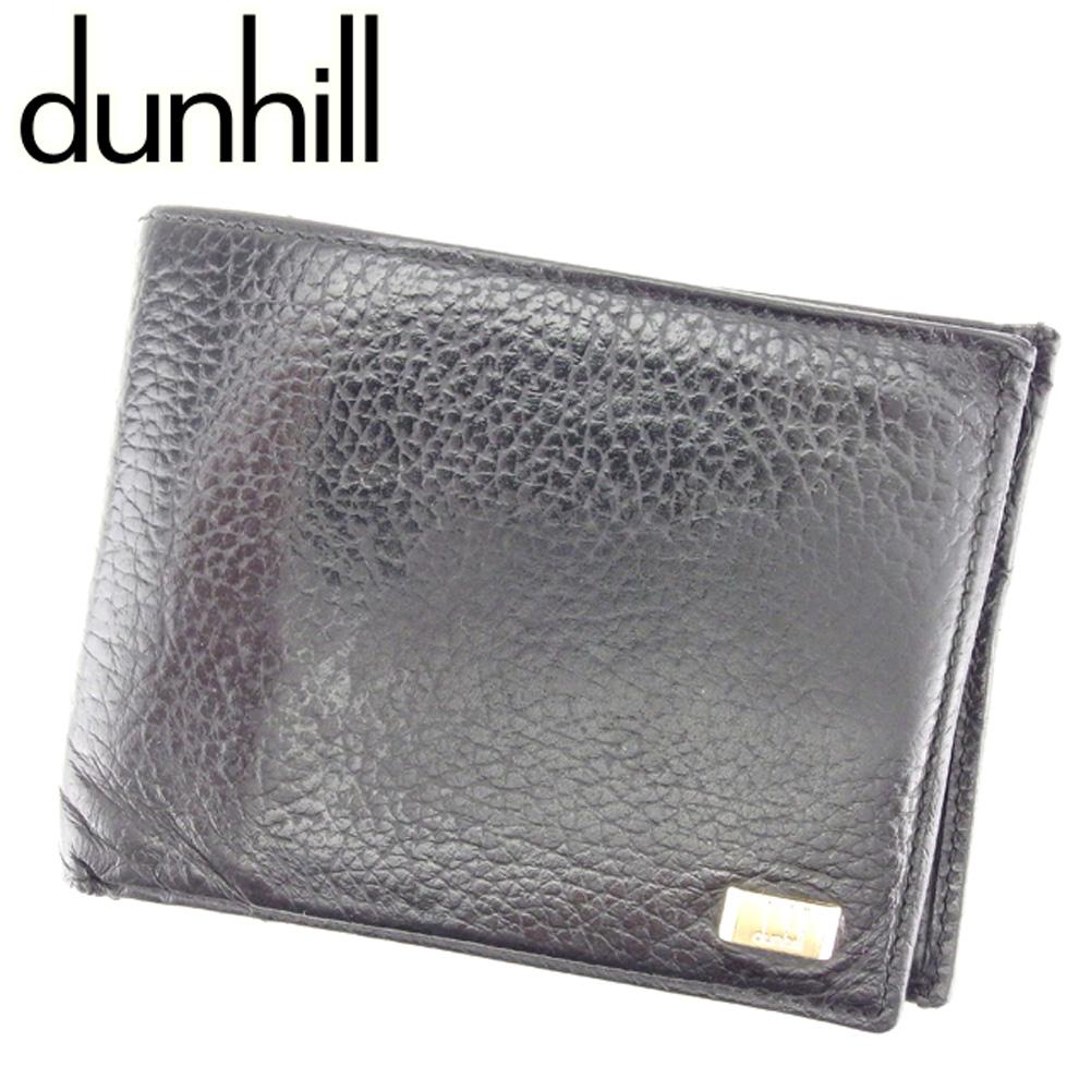 【中古】 ダンヒル dunhill 二つ折り 財布 メンズ コンノート ブラック ゴールド レザー 人気 セール T6834 .