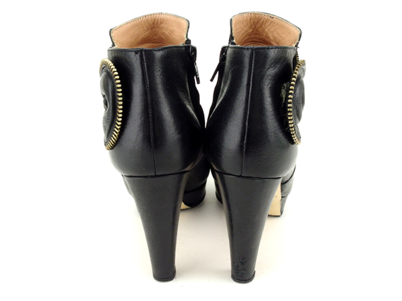 a7767cf9 Sea by Kuroe SEE BY CHLOE boots shoes shoes Lady's ♯ 36 ZIP ribbon motif  short black gold leather popularity sale T6841