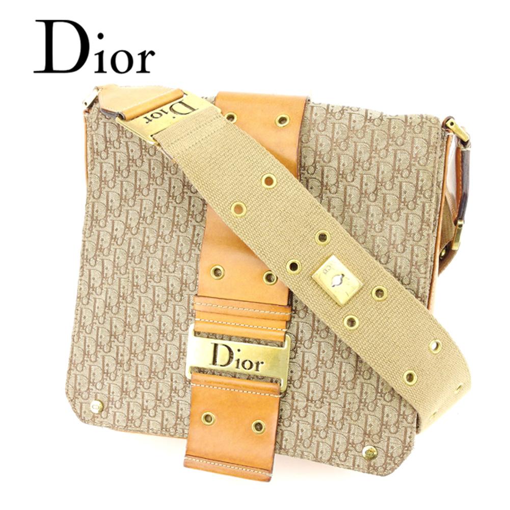 【中古】 ディオール Dior ショルダーバッグ 斜めがけショルダー バッグ レディース メンズ 可 トロッター ベージュ ブラウン ゴールド キャンバス×レザーショルダーバッグ T6842s .