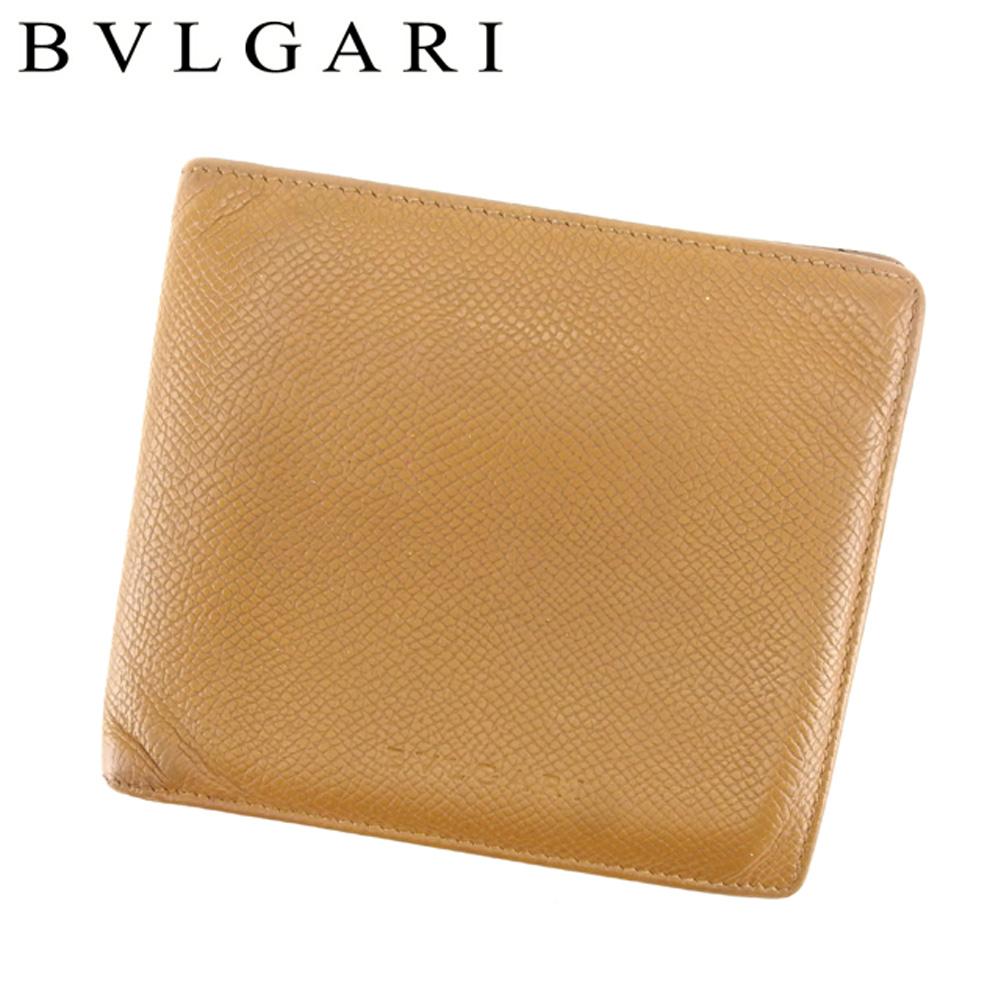 【中古】 ブルガリ BVLGARI 二つ折り 財布 メンズ クラシコ ベージュ レザー 人気 セール T6843 .