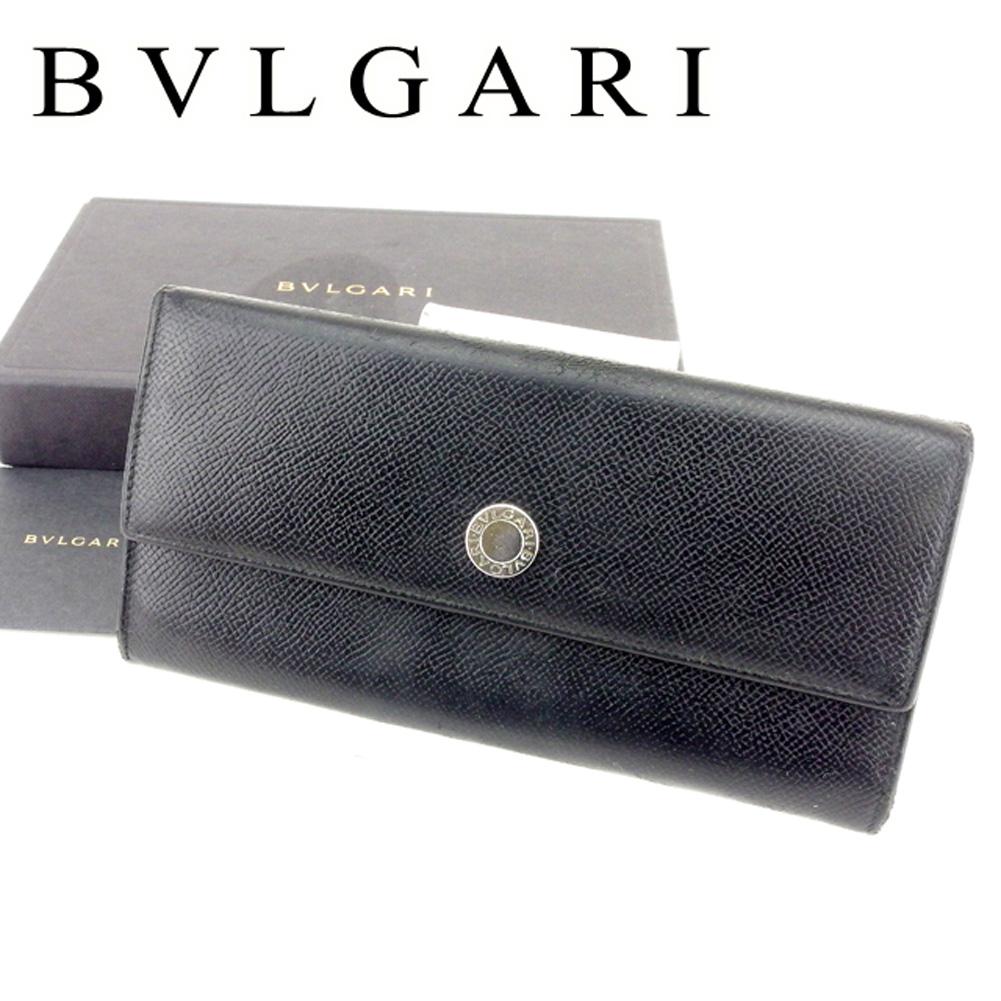 ffc3d2f9bd34 【中古】 ブルガリ BVLGARI 長財布 財布 ファスナー付き レディース メンズ 可 ロゴボタン ブラック