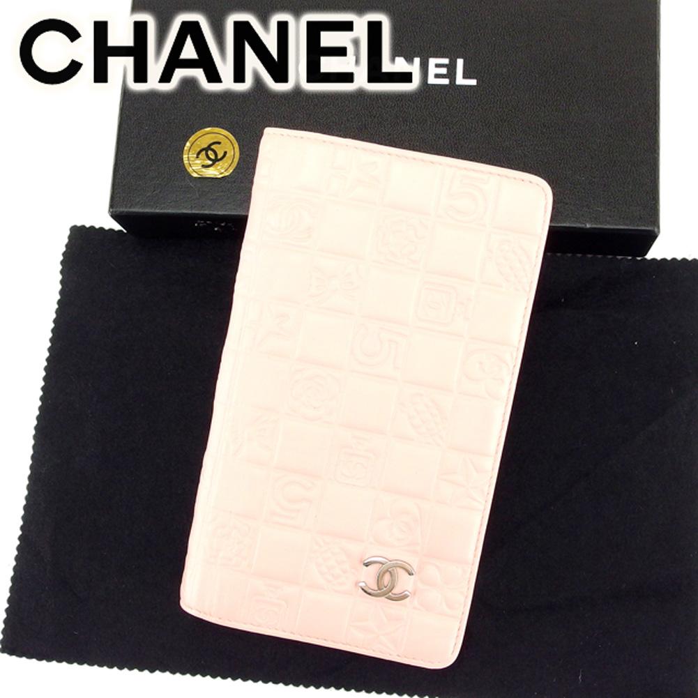 【中古】 シャネル 長財布 さいふ ファスナー付き 長財布 さいふ アイコンシリーズ ピンク レザー CHANEL T6849
