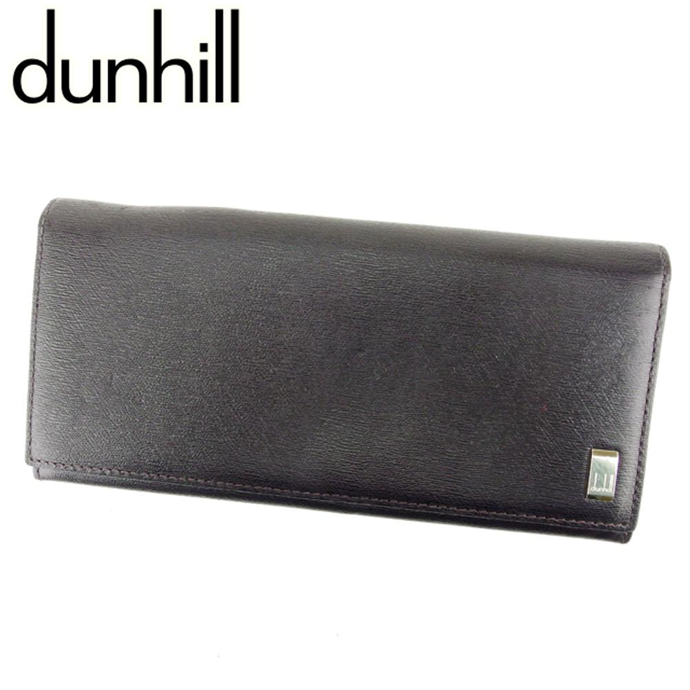 夏 プレゼント 中古 ダンヒル 送料無料 一部地域を除く 長財布 ファスナー付き ブラック dunhill 出群 T6860 レザー