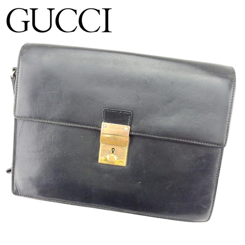 【中古】 グッチ Gucci クラッチバッグ セカンドバッグ レディース メンズ 可 ブラック レザー 人気 セール T6896 .