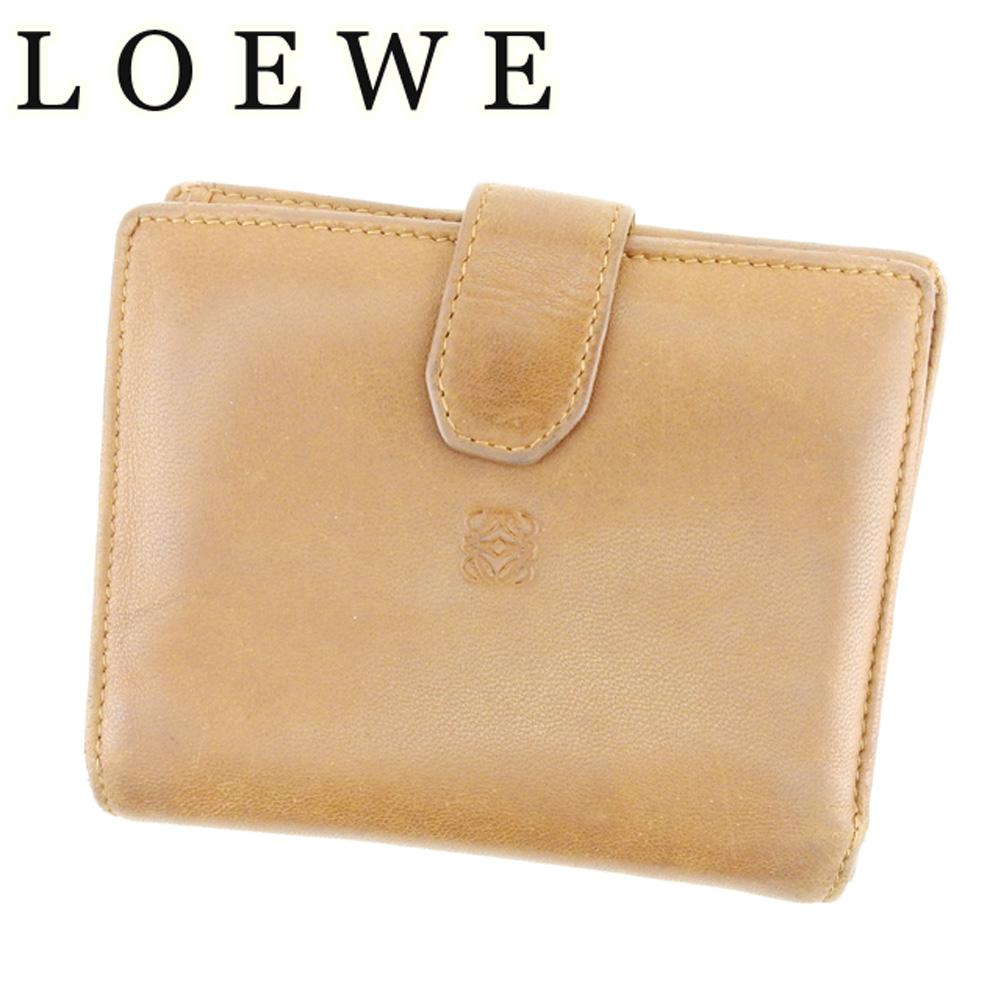 【中古】 ロエベ LOEWE Wホック 財布 二つ折り 財布 レディース メンズ 可 アナグラム ブラウン レザー 人気 セール T6905 .