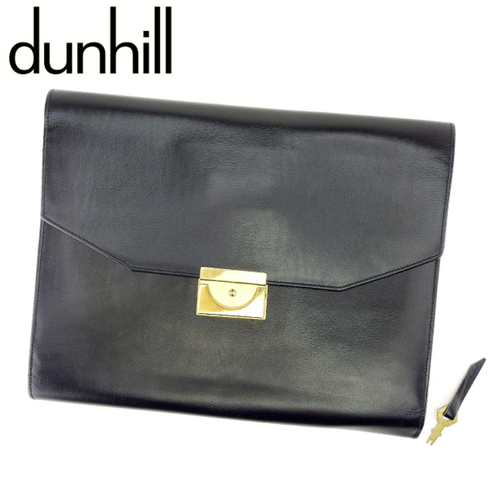 【中古】 ダンヒル dunhill クラッチバッグ セカンドバッグ メンズ ブラック レザー 人気 セール T6911 .