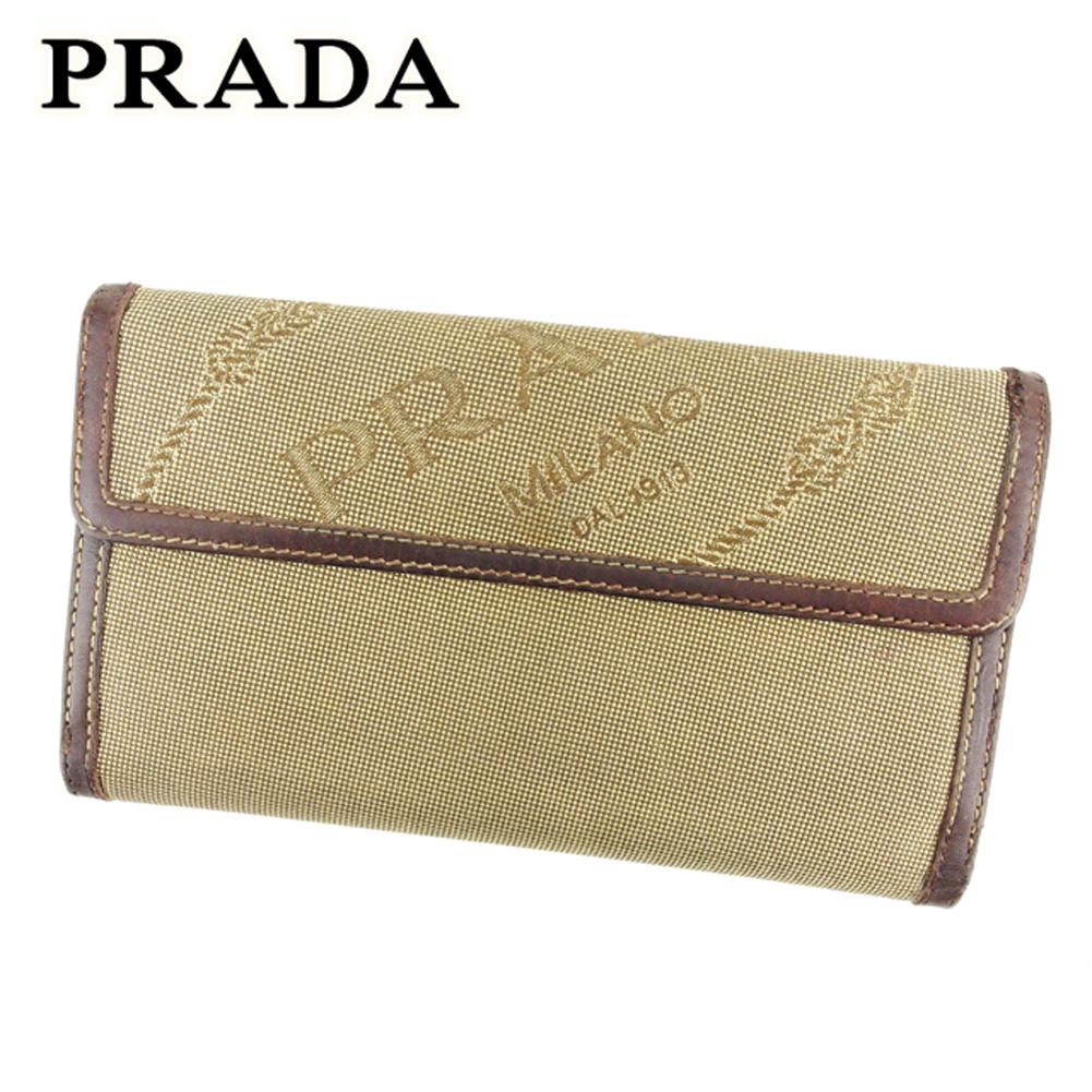 迅速な対応で商品をお届け致します 夏 プレゼント 中古 プラダ サービス 長財布 財布 Wホック ブラウン T6932 PRADA ロゴ キャンバス×レザー ベージュ