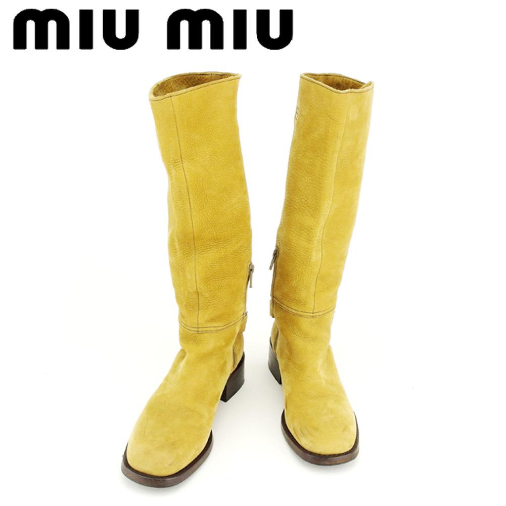 【中古】 ミュウミュウ miu miu ブーツ シューズ 靴 レディース ♯37 ロング エンジニア ベージュ ブラウン シルバー スエード 人気 セール T6933