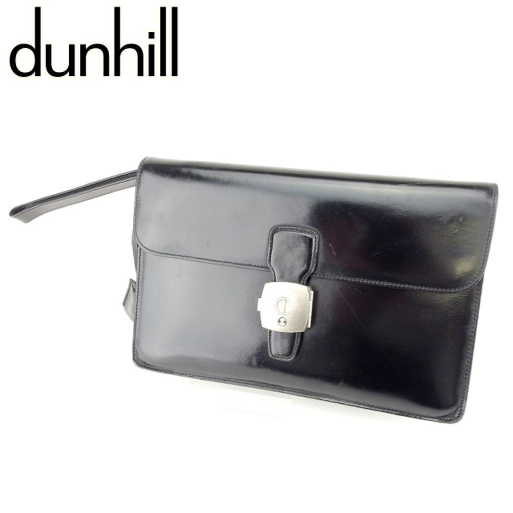 【中古】 ダンヒル dunhill クラッチバッグ セカンドバッグ メンズ ロゴモチーフプレート ブラック シルバー レザークラッチバッグ T6944s .